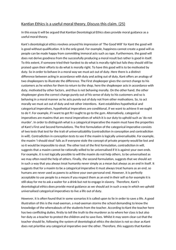 Kantian Ethics Essay A-Level AQA Philosophy (7172)