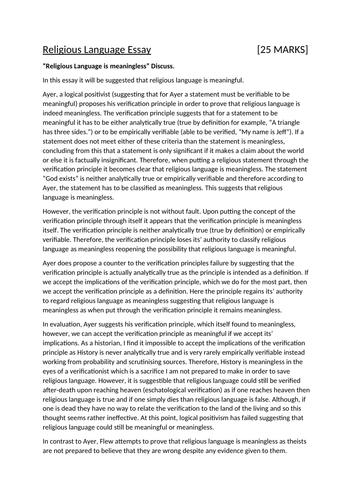 Religious Language Essay A-Level AQA Philosophy