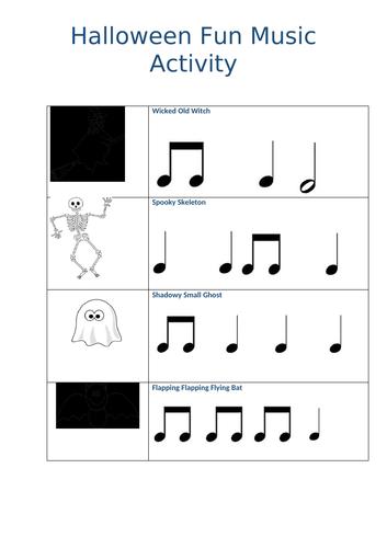 Halloween Rhythm games and Danse Macabre worksheet