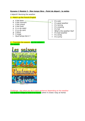 Year 7 French-Dynamo 1 Module 3 -Mon temps libre - ALL UNITS-Worksheets,cover,remote learning