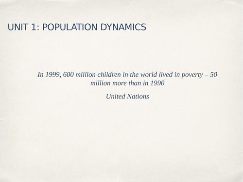 IGCSE GEOGRAPHY POPULATION DYNAMICS