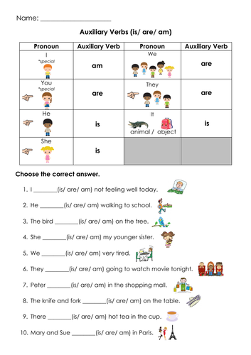 Grammar Auxiliary Verbs (is/ are/ am) Printable