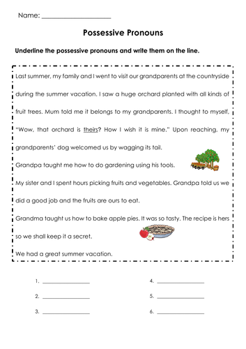 Grammar Possessive Pronouns ( mine/ yours/ theirs/ ours/ hers/ his) Printable