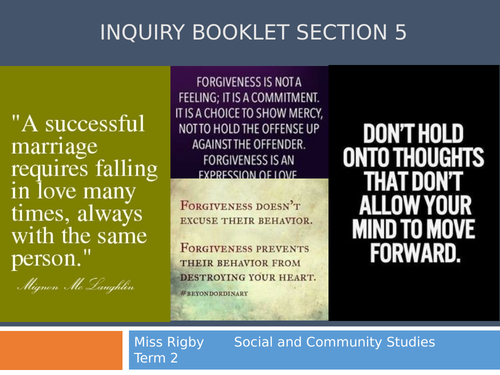 Social and Community Studies - Into Relationships unit - How to make a decision and justify it