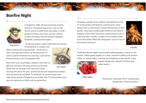Bonfire Night Pack - ESOL Entry 3 EAL ESL B1