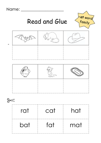 Phonics -at Word Family Read and Glue Printable