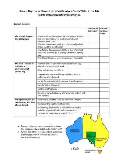 Botany Bay Revision Guide- WJEC Eduqas