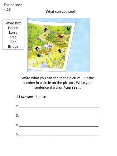 The balloon Oxford reading tree worksheet