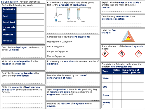 Exploring Science 8E Revision Worksheet- Combustion