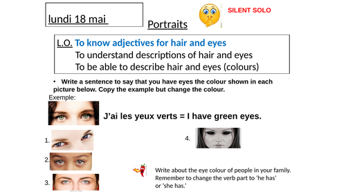 Hair and Eyes in French - full powerpoint with written tasks and listening tasks