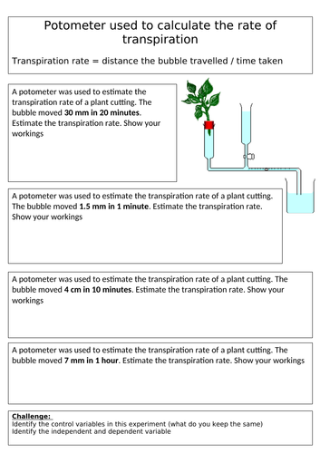 Calculating rate of transpiration