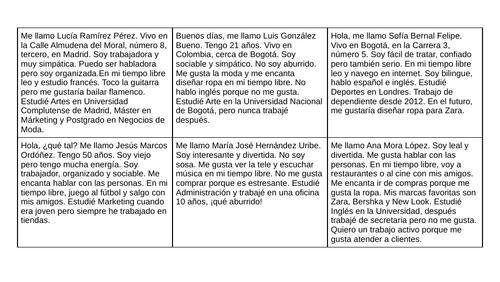 Spanish Narrow reading jobs and personality adjectives