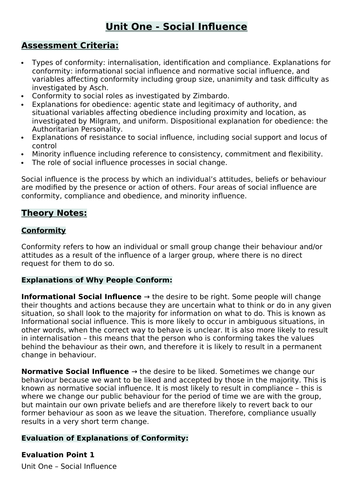 AQA Social Influence Theory Notes Pack