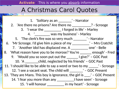 Key Quotes - Romeo & Juliet, A Christmas Carol & Blood Brothers