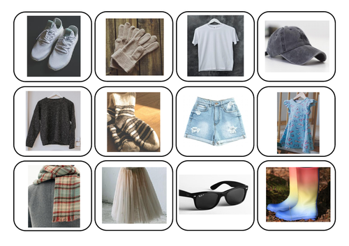 Clothes/clothing photos and words matching - Autism/ASC/SEN/English