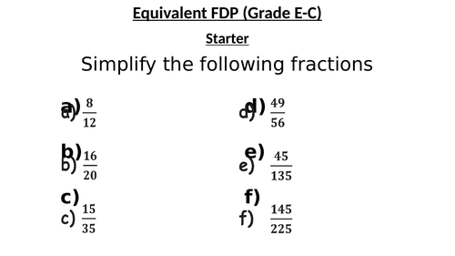 Equivalent FDP Lesson  (Any Ability)