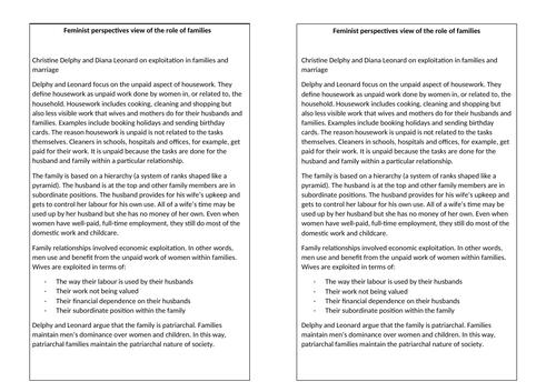 GCSE Sociology: Families - L5. Feminist perspective