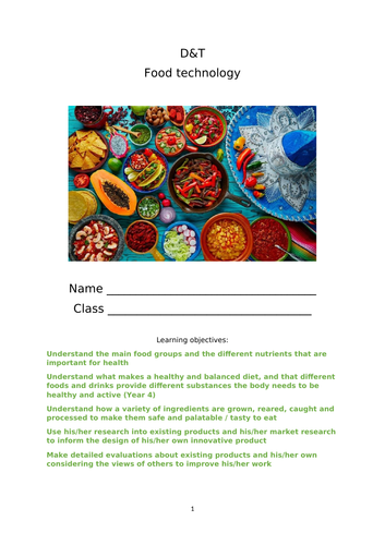 D&T Maya/ Mexican themed food tech booklet