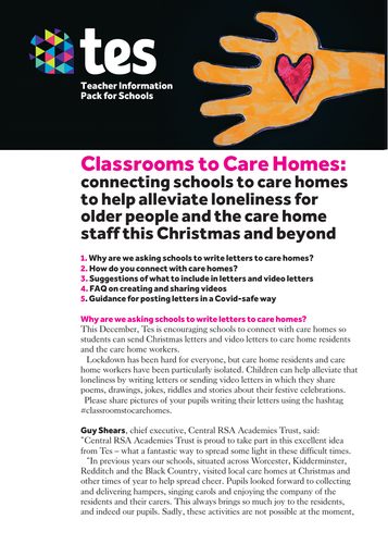 Teacher information pack for Classrooms to Care Homes