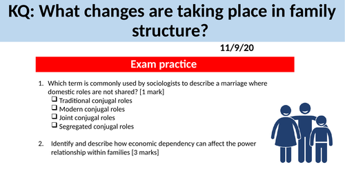 GCSE Sociology Families - L8. Changes in Family Structure