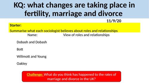 GCSE Sociology Family - L9. Fertility, Marriage and Divorce