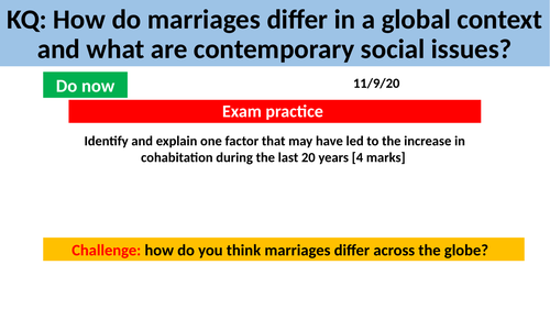 GCSE Sociology Families - L10. Marriages in a Global Context