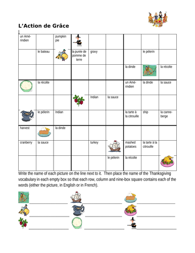 Action de grâce (Thanksgiving in French) Sudoku