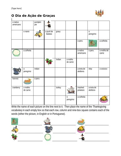 Dia de Ação de Graças (Thanksgiving in Portuguese) Sudoku