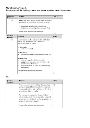 Unit 1 Exercise Physiology Topic A BTEC Exam Questions and Mark Scheme