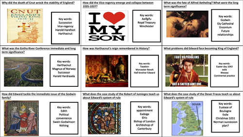 OCR A-level Y102 Norman Conquest 1035-1107 student fill in flashcards