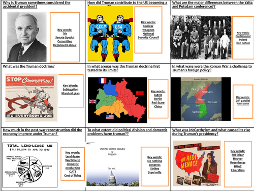 AQA A-level History 2R The Cold war c.1945-1991 student fill in flashcards