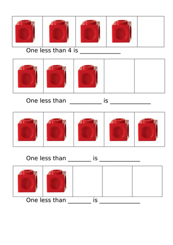 One Less activity with cubes- differentiated