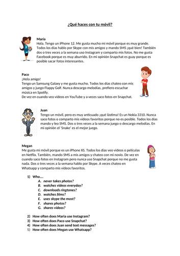 Viva 2 Module 2.1 Mi vida, mi móvil - Reading worksheets with differentiated questions