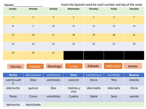 Spanish Days of the week and numbers 1 to 31