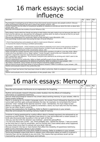 AQA Psychology 16 mark essay questions