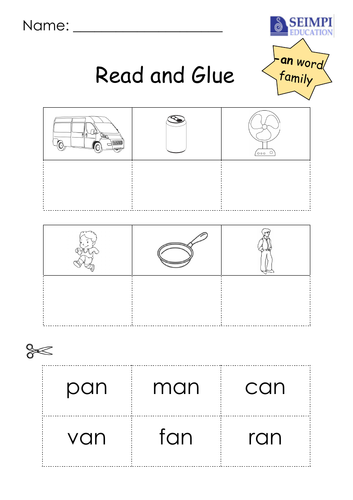 Phonics -an Word Family Read and Glue Printable