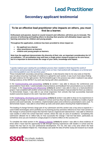 SSAT Lead practitioner submission support
