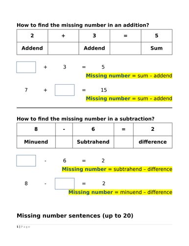 Year 1&2 - Find the missing number