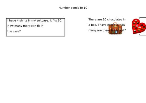 Number Bonds 10 and 20 Word Problems