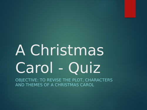 A Christmas Carol Revision Quiz - with answers