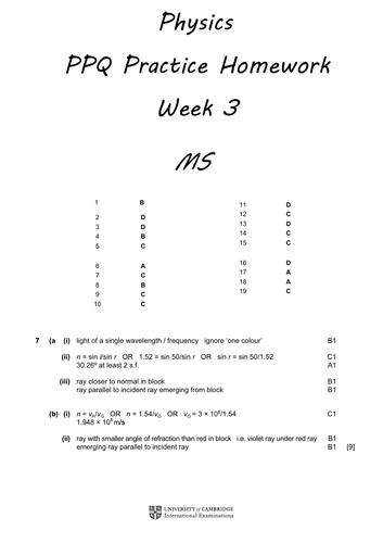 Physics PPQ Revision Homeworks