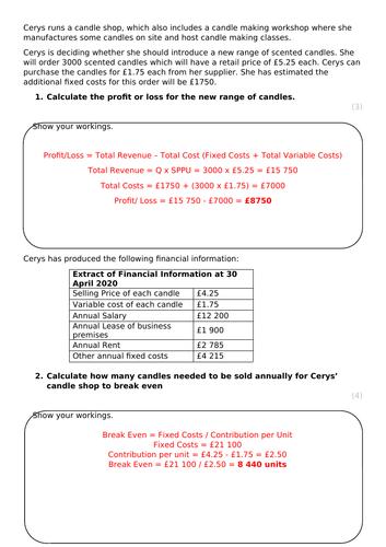 L3 BTEC Business (2016 Spec) Unit 3 Calculation Mini Mocks