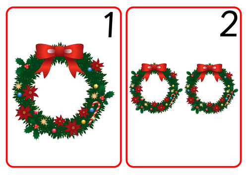 Wreath Number Cards