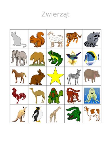 Zwierząt (Animals in Polish) Bingo