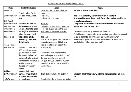 Aesop's Fables Guided and Shared reading Planning