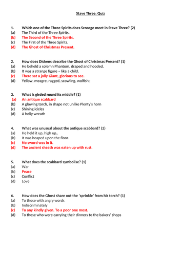 A Christmas Carol Stave 3 Quiz and Answers worksheet