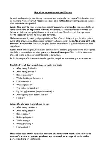 Au restaurant - Vocabulary and Grade 9 sentences
