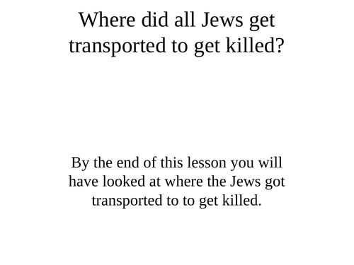 The Holocaust - a series of lessons