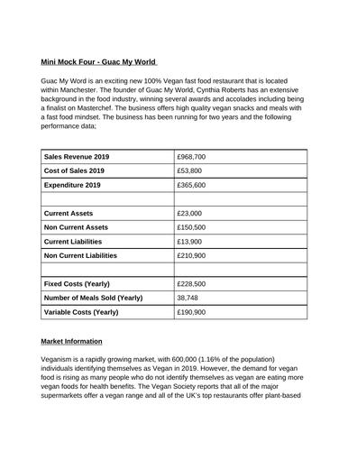 BTEC Level 3 Business Unit 7: Business Decision Making Mock Assessment (Guac My World)