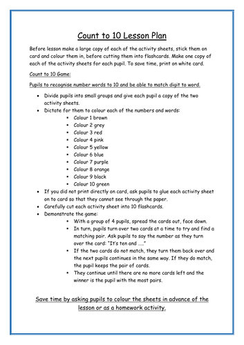 Count to 10 lesson plan and activity sheets